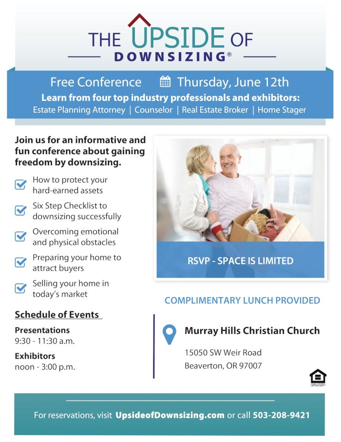 Upside Of Downsizing Conference Beaverton Or Right